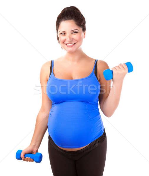 Foto stock: Mulher · grávida · exercer · feliz · isolado · branco
