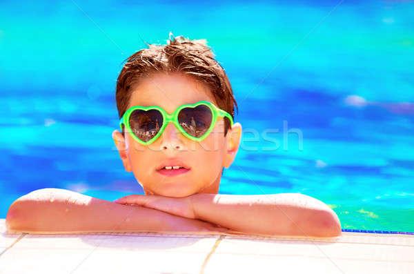 Pretty boy in the pool Stock photo © Anna_Om