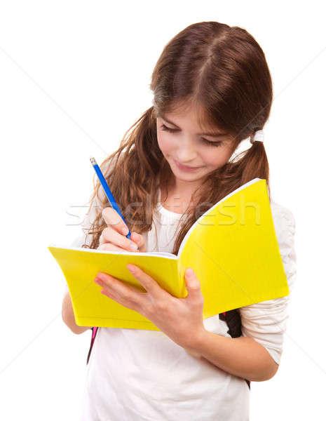 Iskolás lány ír notebook izolált fehér vizsga Stock fotó © Anna_Om