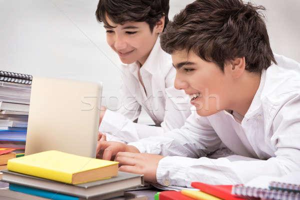 Happy schoolboys studying Stock photo © Anna_Om