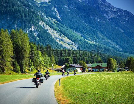 Motorcyclists on mountainous road Stock photo © Anna_Om