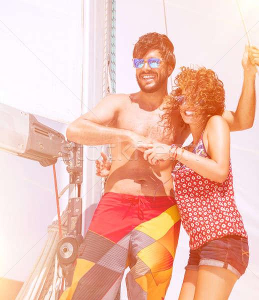 Stockfoto: Zeilboot · gelukkig · mooie · paar · blijde