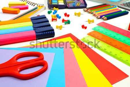 Verschillend schoolbenodigdheden kleurrijk noodzakelijk studie Stockfoto © Anna_Om
