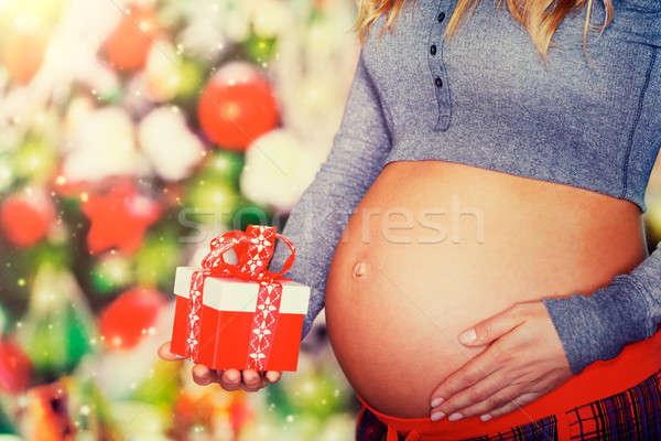 Legjobb ajándék karácsony közelkép fotó pocak Stock fotó © Anna_Om