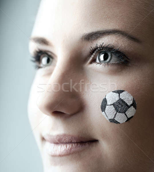 Portrait heureux football fan peint Photo stock © Anna_Om