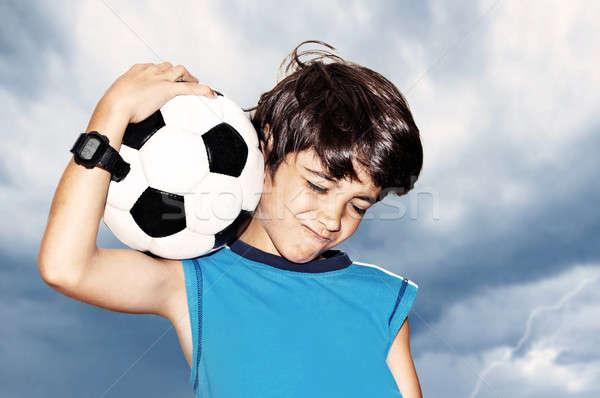 Futballista ünnepel győzelem ünnepel aranyos fiú Stock fotó © Anna_Om