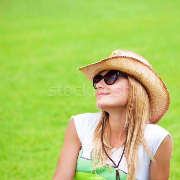 Felice donna erba verde primo piano ritratto cute Foto d'archivio © Anna_Om