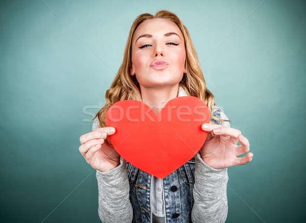 Stock photo: Teen girl in love