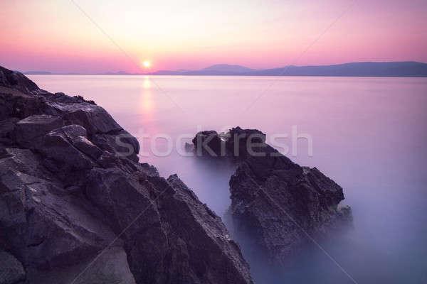Purple sunset over sea Stock photo © Anna_Om