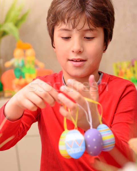 Cute boy preparing to Easter Stock photo © Anna_Om