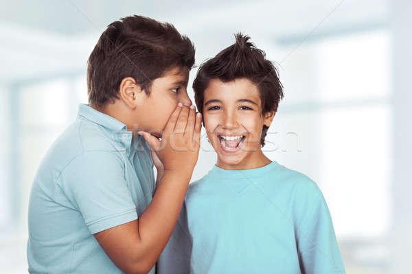 Stock photo: Two happy boys gossiping