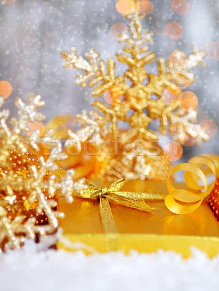 Stock photo: Beautiful golden gift