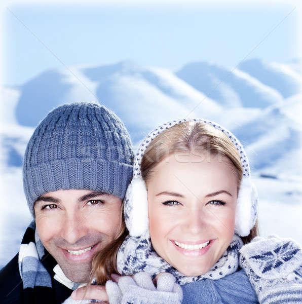 Stockfoto: Gelukkig · paar · spelen · outdoor · winter · bergen