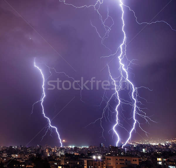 Lightning in the city Stock photo © Anna_Om