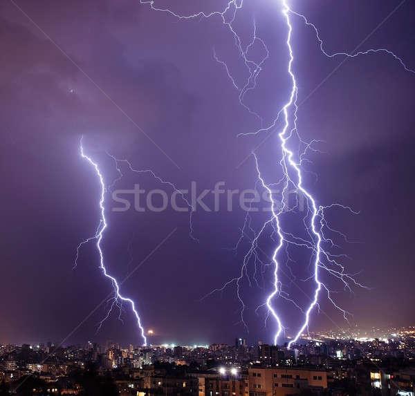 Yıldırım şehir fotoğraf güzel güçlü büyük Stok fotoğraf © Anna_Om