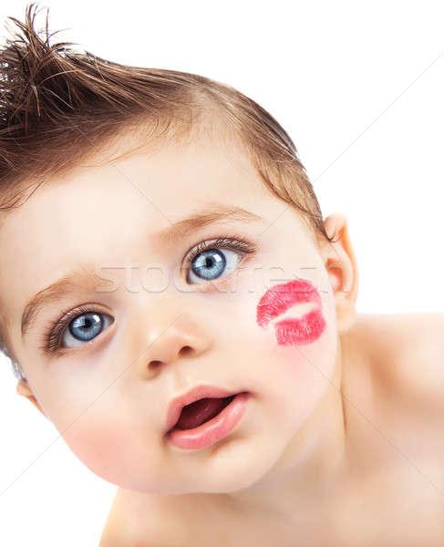 Kid baiser photos faible joli rouge à lèvres rouge Photo stock © Anna_Om