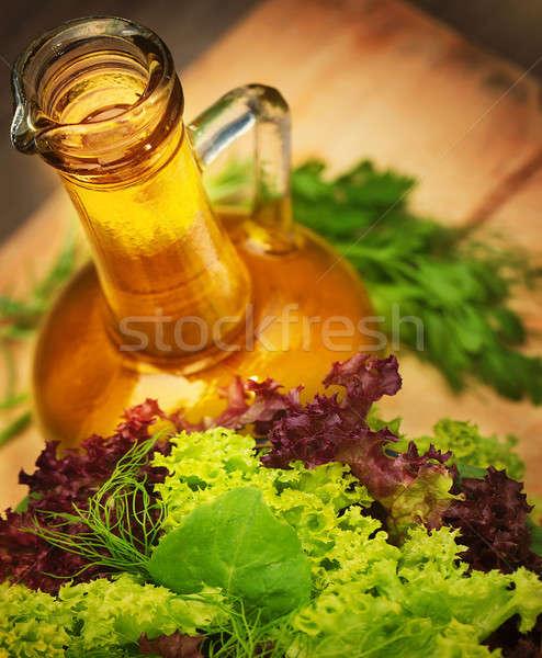 Zeytinyağı vejetaryen salata taze yeşil sebze Stok fotoğraf © Anna_Om