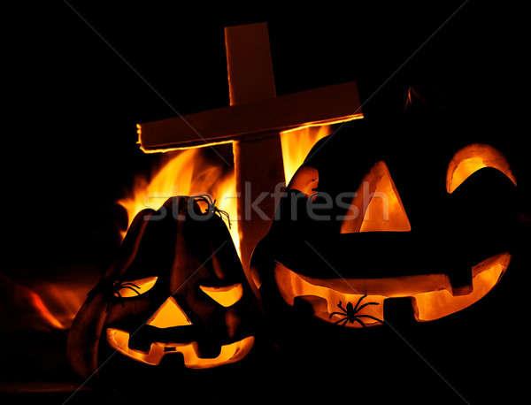 Stock photo: Scary Halloween pumpkin