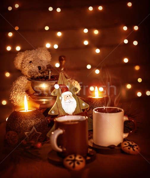 Navidad naturaleza muerta primer plano hermosa las tazas de café sabroso Foto stock © Anna_Om