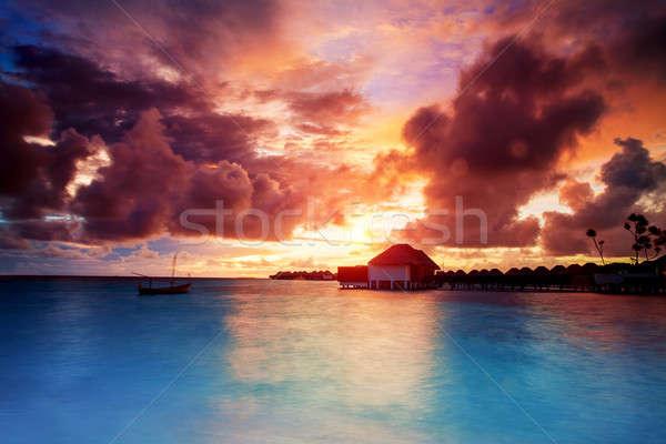 закат Мальдивы красивой пляж пейзаж Сток-фото © Anna_Om
