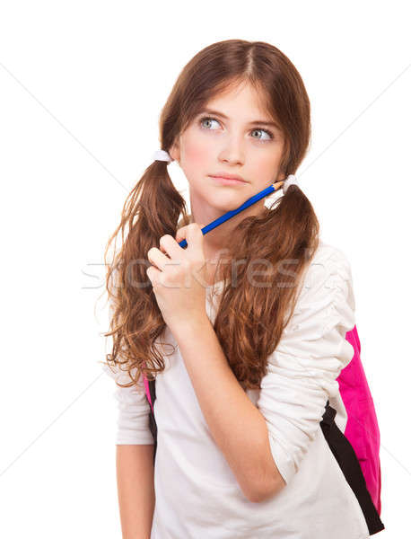 Smart thoughtful girl on exam Stock photo © Anna_Om