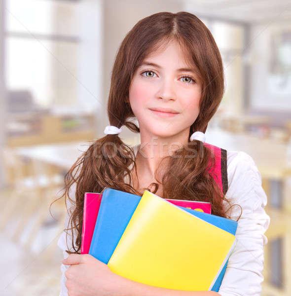 Aranyos lány iskola portré tinilány áll Stock fotó © Anna_Om