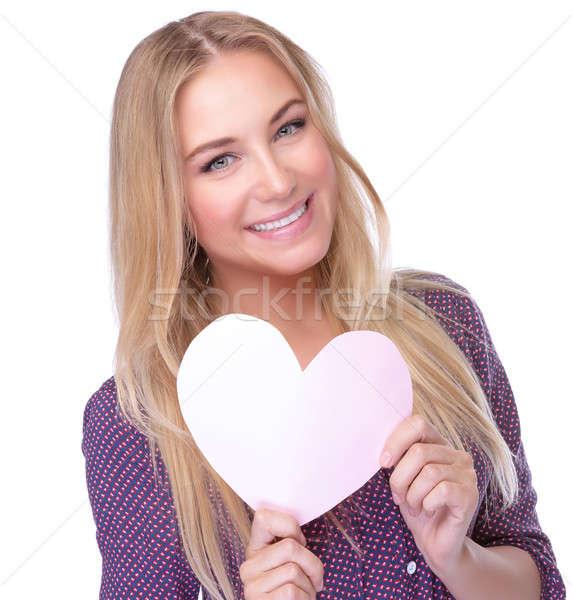 Szeretet közelkép portré aranyos szőke nő Stock fotó © Anna_Om