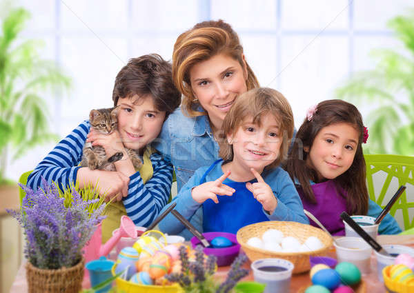 Family portrait in Easter time Stock photo © Anna_Om