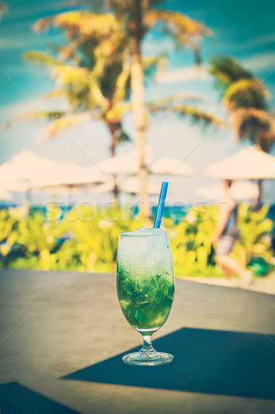 ízletes mojito tengerpart édes alkoholos ital citrus Stock fotó © Anna_Om