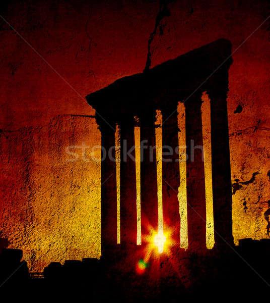 Temple coucher du soleil Liban anciens romaine colonnes Photo stock © Anna_Om