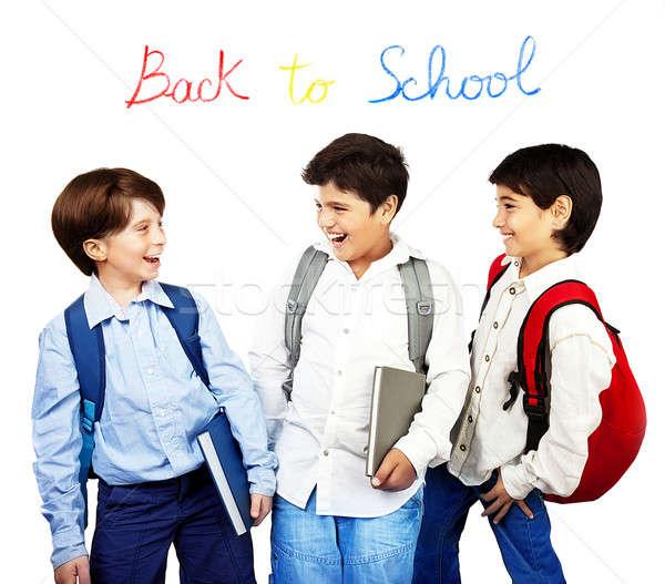 Glücklich lachen Zurück in die Schule halten Pfund sprechen Stock foto © Anna_Om