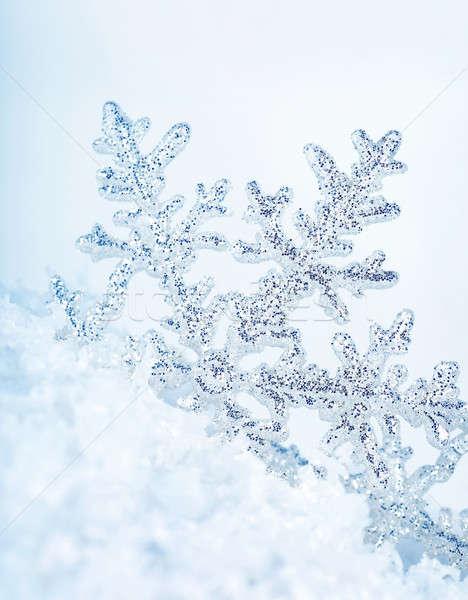 Copo de nieve hermosa azul invierno vacaciones fondo Foto stock © Anna_Om