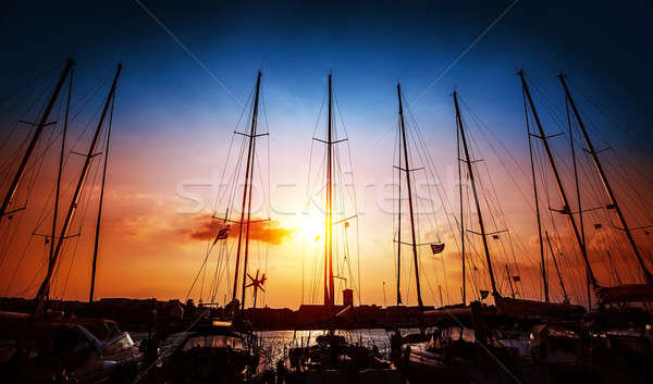 Sailboats on sunset Stock photo © Anna_Om