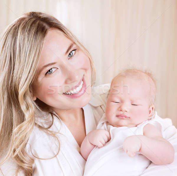 Foto stock: Feliz · mamãe · bebê · retrato · bonitinho