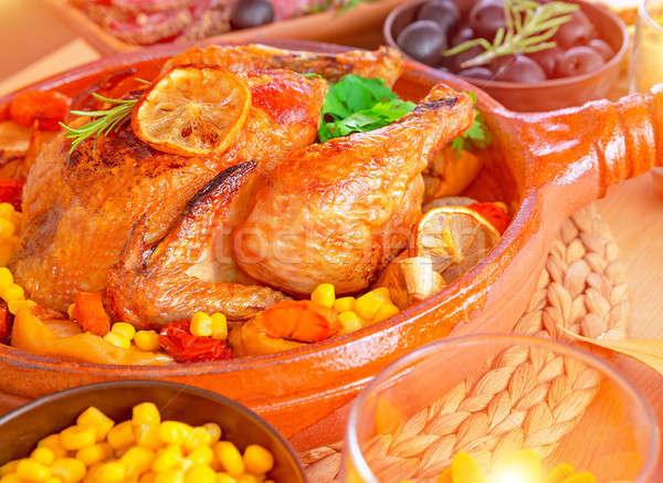 Tasty baked Thanksgiving turkey Stock photo © Anna_Om