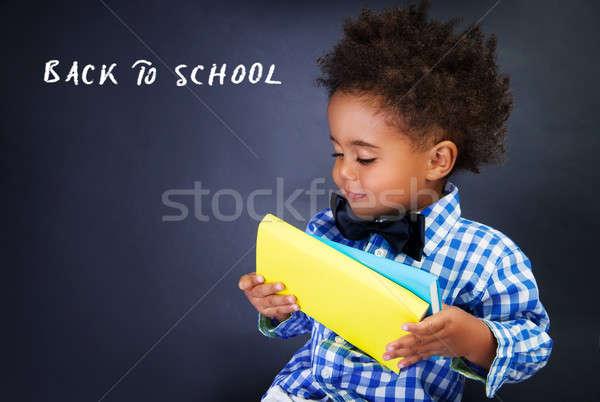 Stockfoto: Cute · weinig · schooljongen · portret · aanbiddelijk · afrikaanse