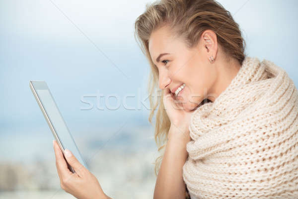 Happy girl with touchpad Stock photo © Anna_Om