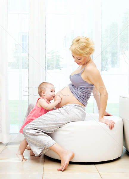 Pregnant mother and baby girl Stock photo © Anna_Om