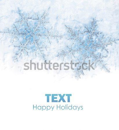 Hópehely gyönyörű kék hópelyhek izolált tél Stock fotó © Anna_Om