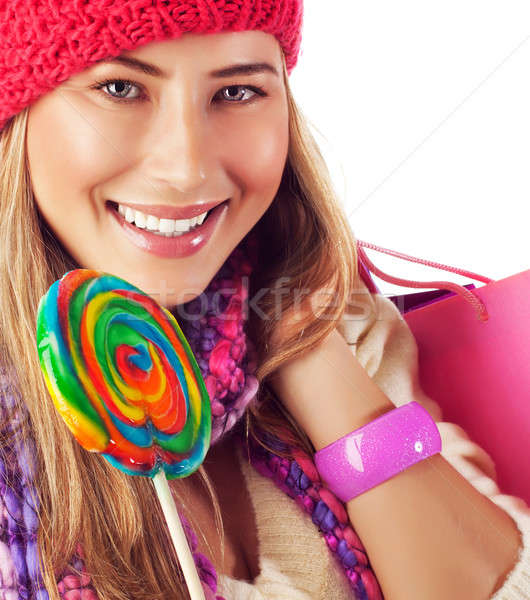 Young lady with colorful lollipop Stock photo © Anna_Om