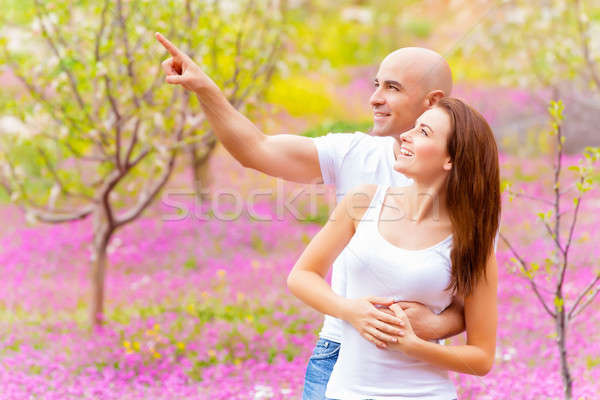 Stock photo: Guy with girl in park