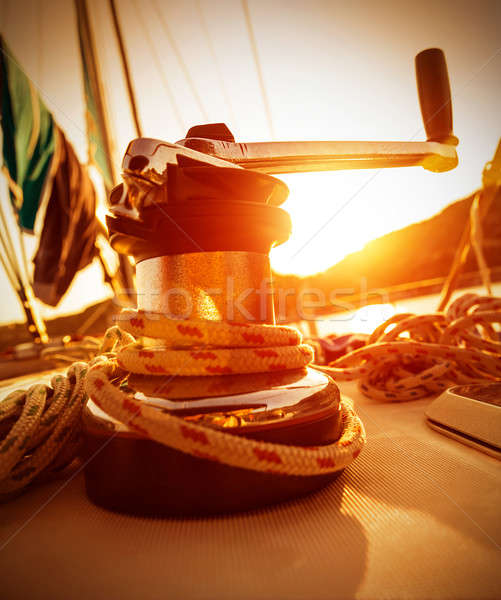 Crank handle of yacht on sunset Stock photo © Anna_Om