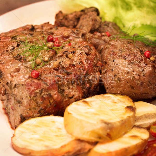 Smaczny mięso z grilla ziemniaczanej tablicy Zdjęcia stock © Anna_Om