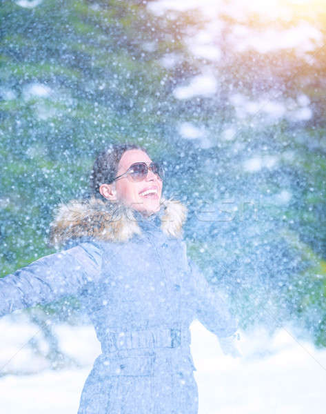 Excited female under snowfall Stock photo © Anna_Om