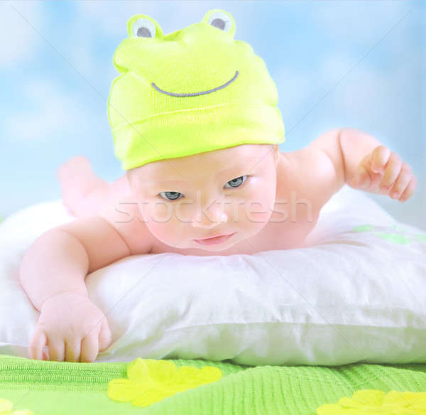 Little baby in frog costume Stock photo © Anna_Om
