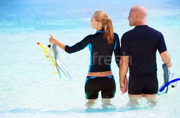 Happy diver on the beach Stock photo © Anna_Om