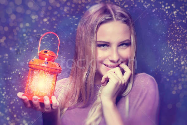 Cute girl at Christmas eve Stock photo © Anna_Om