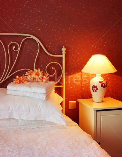 Foto stock: Romântico · quarto · luxo · design · de · interiores · quente · luz