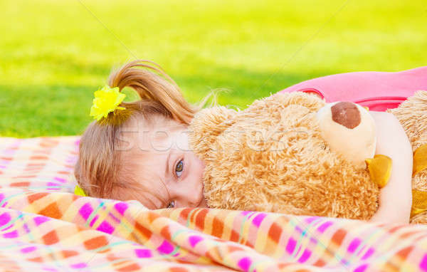 Little girl with soft toy Stock photo © Anna_Om