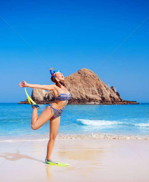 Female wearing diving equipment Stock photo © Anna_Om